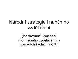 Národní strategie finančního vzdělávání