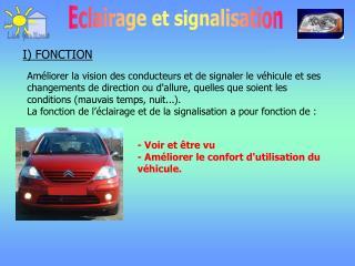 - Voir et être vu - Améliorer le confort d'utilisation du véhicule.