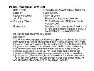 PT Sari Pari Abadi - WW SLN Date & Time          : Thursday, 03 August 2006 at 13:30 hrs.