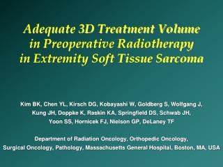 Adequate 3D Treatment Volume  in Preoperative Radiotherapy  in Extremity Soft Tissue Sarcoma