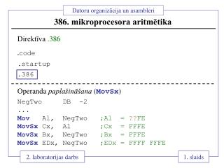 386.  mikroprocesora aritmētika