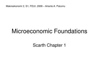 Microeconomic Foundations