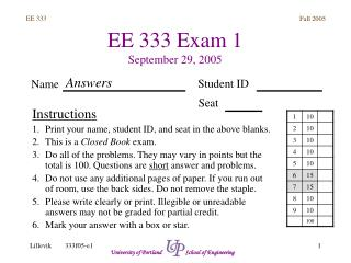 EE 333 Exam 1 September 29, 2005