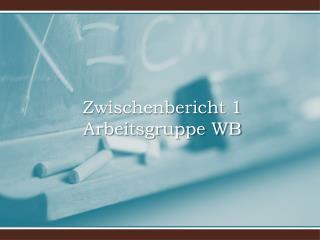 Zwischenbericht 1 Arbeitsgruppe WB