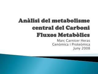 Anàlisi del metabolisme central del Carboni  Fluxos Metabòlics