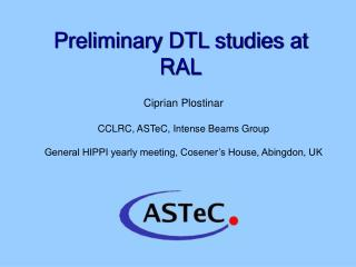 Preliminary DTL studies at RAL