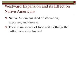 Westward Expansion and its Effect on Native Americans