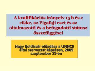 Nagy Boldizsár előadása a UNHCR által szervezett képzésen, 2009 szeptember 25-én