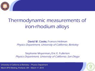University of California at Berkeley � Physics Department