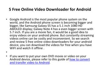 5 Free Video Downloader for Android Phone and Tablet