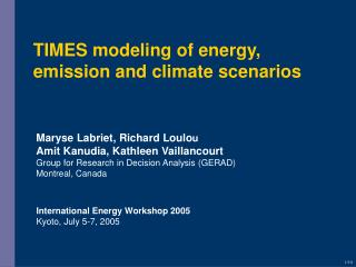 TIMES modeling of energy, emission and climate scenarios