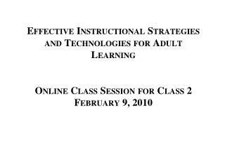 Class Session Agenda