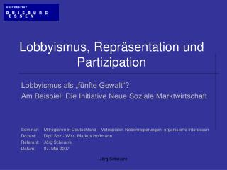 Lobbyismus, Repr sentation und Partizipation