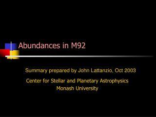Abundances in M92