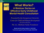 What Works   A Webinar Series on  Effective Early Childhood  Mental Health Consultation