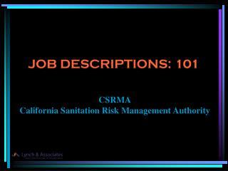 JOB DESCRIPTIONS: 101