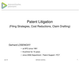 Patent Litigation Filing Strategies, Cost Reductions, Claim Drafting
