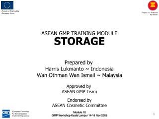 ASEAN GMP TRAINING MODULE STORAGE