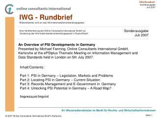 IWG - Rundbrief Wissenswertes rund um das Informationsweiterverwendungsgesetz