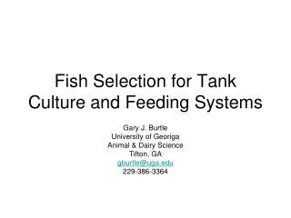 Fish Selection for Tank Culture and Feeding Systems