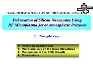 Fabrication of Silicon Nanocones Using  RF Microplasma Jet at Atmospheric Pressure