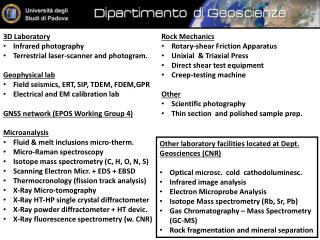 3D Laboratory  Infrared photography Terrestrial laser-scanner and photogram. Geophysical lab