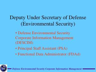Deputy Under Secretary of Defense (Environmental Security)