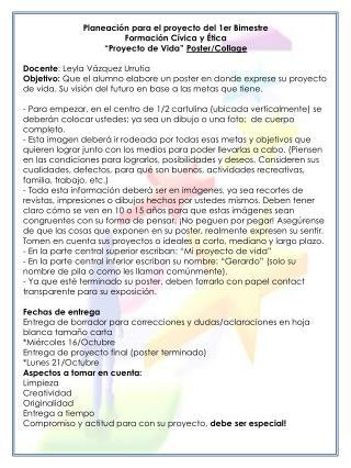 Planeación para el proyecto del 1er Bimestre Formación Cívica y Ética