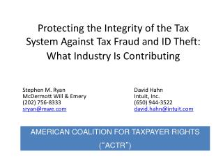 Stephen M. Ryan David Hahn McDermott Will & EmeryIntuit, Inc.