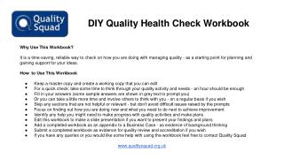DIY Quality Health Check Workbook
