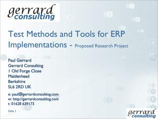 Test Methods and Tools for ERP Implementations - Proposed Research Project
