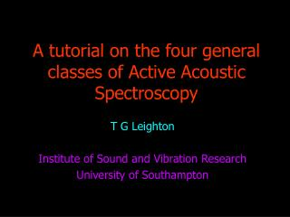 A tutorial on the four general classes of Active Acoustic Spectroscopy
