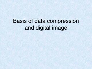 Basis of data compression and digital image