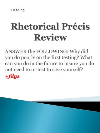 Rhetorical Précis Review