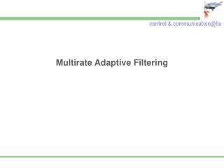 Multirate Adaptive Filtering