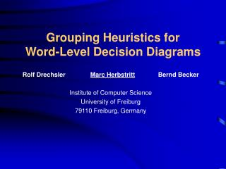 Grouping Heuristics for Word-Level Decision Diagrams