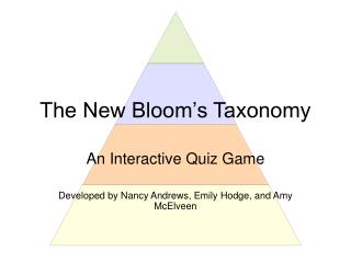 The New Bloom s Taxonomy