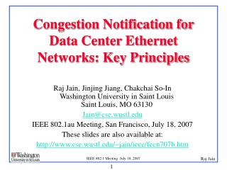 Congestion Notification for Data Center Ethernet Networks: Key Principles