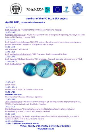 Seminar of the FP7 FCUB ERA project