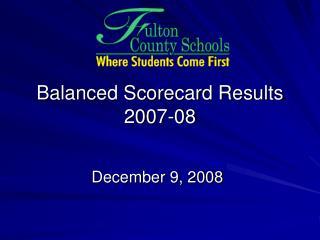 Balanced Scorecard Results 2007-08