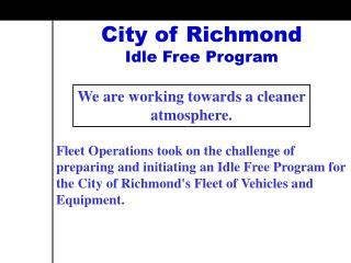 City of Richmond Idle Free Program