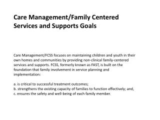 Care Management/Family Centered Services and Supports Goals