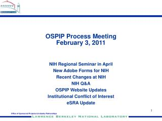 OSPIP Process Meeting February 3, 2011