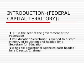 INTRODUCTION-(FEDERAL CAPITAL TERRITORY):