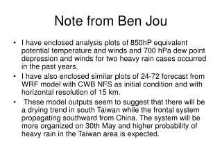 Note from Ben Jou
