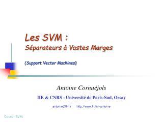 Les SVM : Séparateurs à Vastes Marges (Support Vector Machines)
