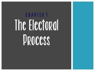 C H A P T E R  7 The Electoral Process