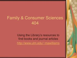 Family & Consumer Sciences 404