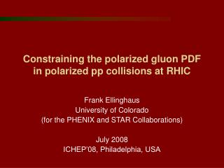 Constraining the polarized gluon PDF in polarized pp collisions at RHIC