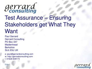 Test Assurance   Ensuring Stakeholders get What They Want